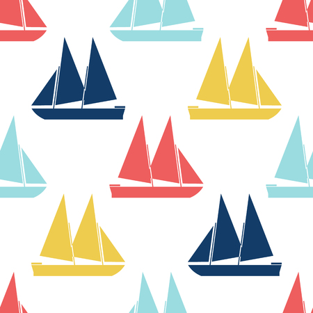 shape silhouette: Retro boat seamless pattern. Vector illustration for nautical design. Bright yacht, ship, sailboat transport pattern. Marine sea cute wallpaper background. Cartoon silhouette shape wrapping pattern Illustration