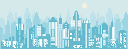 landscape architecture: Cityscape background. Skyline silhouettes. Modern architecture. Blue urban landscape. Horizontal banner with megapolis skyscraper panorama. Building icon. Vector city illustration Illustration