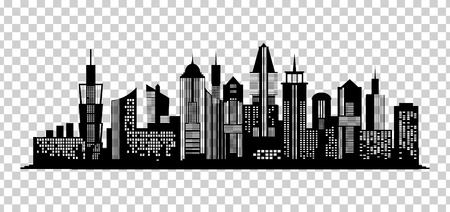Cityscape black icon on transparent background. Skyline silhouette. Town architecture skyscrapers. Urban city landscape. Megapolis panorama. Vector new york building illustration