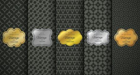 gold silver: Golden vintage frame on black pattern background. Vector illustration for retro design. Gold abstract frame box. Label set. Elegant silver foil. Fashion dark interior pattern. Ornamental wallpaper Illustration