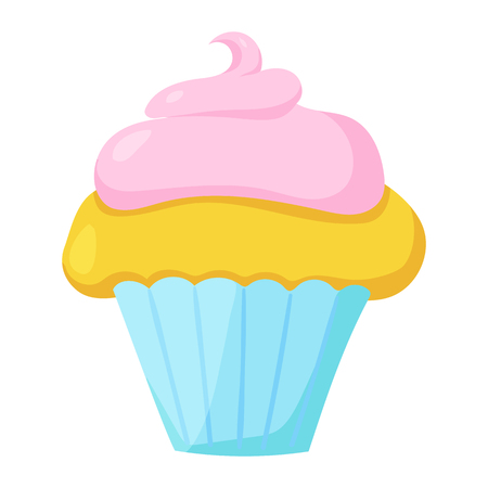 buttercream: Fast food cupcake icon. Vector illustration for restaurant menu design. Cake image. Sweet muffin isolated on white background