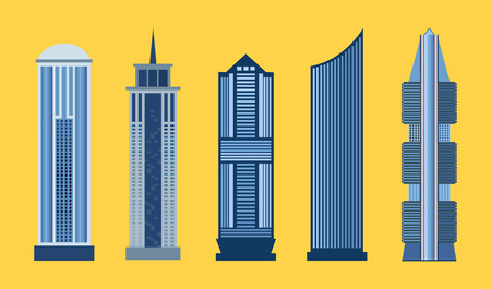 glass office: Skyscraper icon set isolated on yellow background. Vector illustration for architecture design. Business building exterior. Flat modern city office. High reflection glass center house