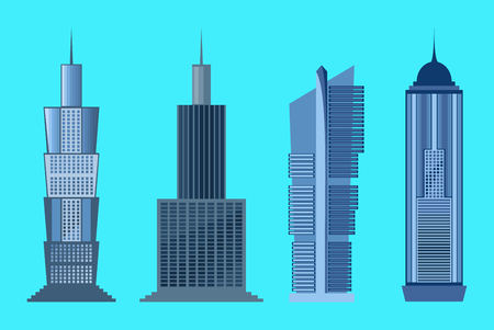 glass office: Skyscraper icon set isolated on blue background. Vector illustration for architecture design. Business building exterior. Modern city office. High flat reflection glass center house