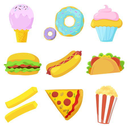 frankfurter: Cute fast food icons set. Vector illustration for restaurant menu design. Burger, hot dog, sandwich, french fries potato, pizza, popcorn, donut, ice cream, cupcake, fast food cartoon icon