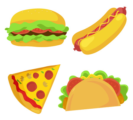 cheesy: Cute fast food icons set. Vector illustration for restaurant menu design. Burger, hot dog, sandwich, pizza, junk food cartoon icon isolated on white background