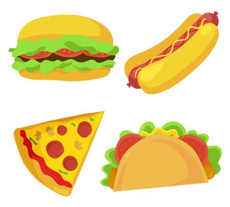 Leuke fastfood pictogrammen ingesteld. Vector illustratie voor restaurantmenu ontwerp. Burger, hotdog, sandwich, pizza, junk food cartoon pictogram geïsoleerd op een witte achtergrond