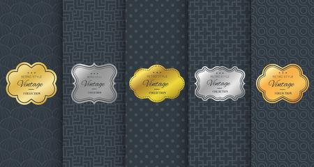 vintage: Golden vintage frame on black pattern background Illustration
