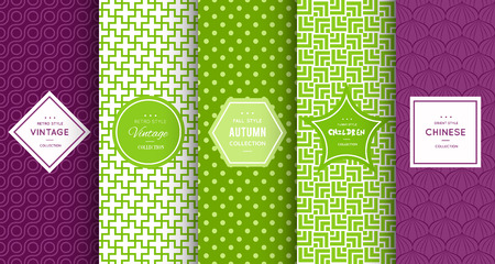 retro patterns: Retro different vector seamless patterns