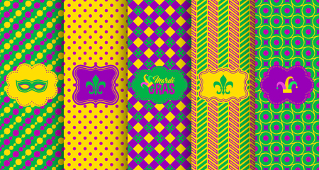 Bright abstract mardi gras pattern set