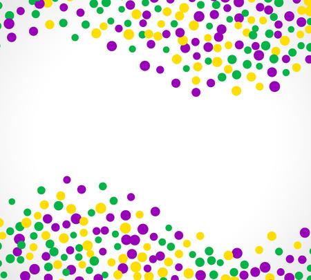 Heller abstrakter Punkt karneval Muster auf weißem Hintergrund. Vektor-Illustration für Ferien-Design. Carnival Festival bunten Perlen Hintergrund, Rahmen. Hellgelb, grün, lila Farbe Konfetti.