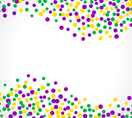 Bright abstract dot mardi gras pattern on white background. Vector illustration for holiday design. Carnival festival colorful bead backdrop, border, frame. Light yellow, green, purple color confetti.