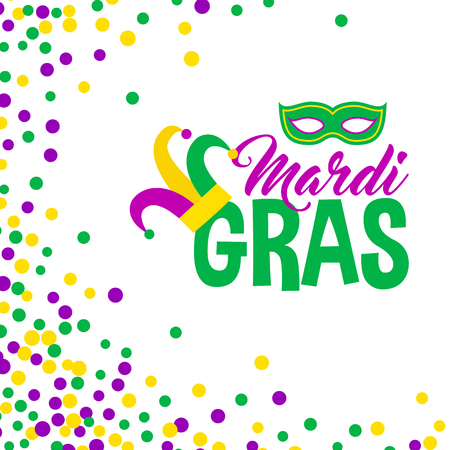 bead: Bright abstract dot mardi gras pattern on white background. Vector illustration for holiday design. Carnival festival colorful bead backdrop, border, frame. Light yellow, green, purple color confetti.