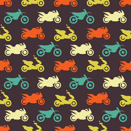 Retro motorcycle seamless pattern