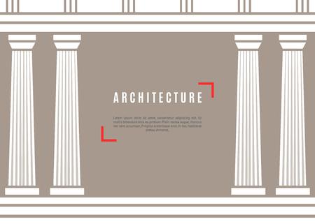 derecho romano: La arquitectura del templo griego en el fondo marrón. ilustración vectorial diseño de la arquitectura plana. La construcción de fondo antiguo monumento. Columna hito pilar Parthenon. arquitectura famosa