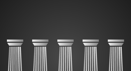 pillars: Architecture greek white marble pillars on black background. Vector illustration for flat architecture design. Illustration