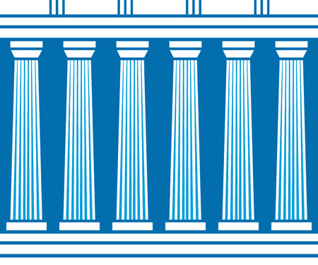 grecian: Double classic pillars arc isolated on blue background. Vector illustration flat architecture design. Building ancient monument background. Column pillar parthenon landmark Famous architecture pattern Stock Photo