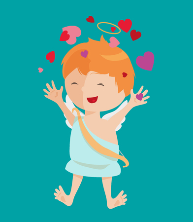 Cute angel isolated on white background. Vector illustration for cartoon holiday design. Child children baby kid. Happy valentine day cupid. Romantic couple icons. Red heart, arrow, bow, halo
