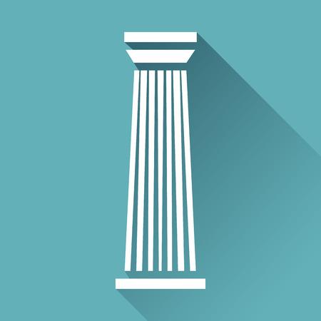 doric: White column pillar icon isolated on blue background. Vector illustration for flat architecture design. Building ancient monument symbol icon. Pillar parthenon landmark. Pillar sign. Stock Photo