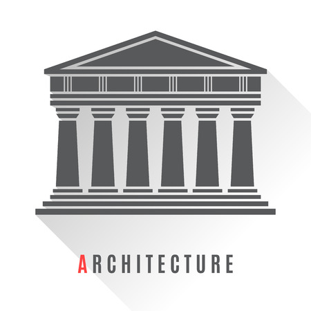 black gods: Architecture greek temple icon isolated on white background. Vector illustration flat architecture design. Building ancient monument symbol icon. Column pillar parthenon landmark. Famous architecture