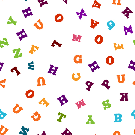 writting: Colorful letter seamless pattern on white background