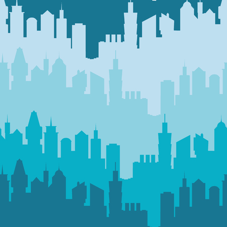 urban building: Modern city silhouette seamless pattern. Vector illustration for urban design. Building construction wallpaper. Art town element with skyscraper street panorama. Cityscape pattern set Blue night color