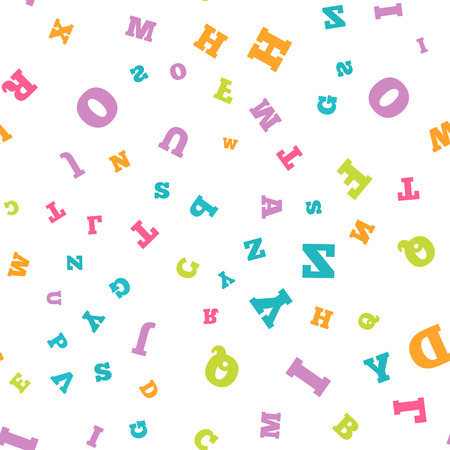 Colorful letter seamless pattern on white background
