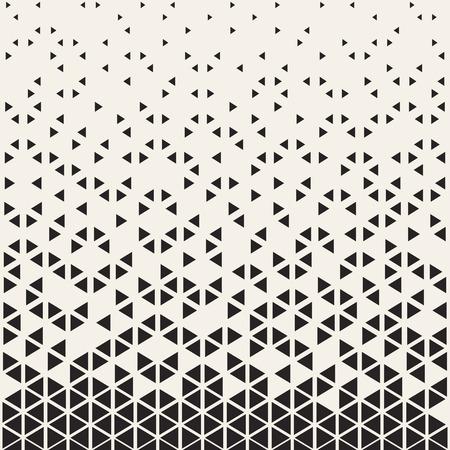 Abstract geometric pattern design. Vector illustration for hipster fashion. White black colors. Triangle shape print. Halftone graphic background. Retro monochrome pattern. Fade contrast lattice.