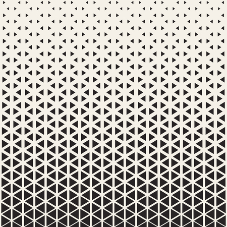 Abstract geometric pattern design. Vector illustration for hipster fashion. White black colors. Triangle shape print. Halftone graphic background. Retro monochrome pattern. Fade contrast lattice.