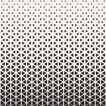 Conception abstraite de motifs géométriques. Illustration vectorielle pour la mode hipster. Couleurs blanches noires. Impression en forme de triangle. Contexto graphique à demi-teinte. Rétro modèle monochrome. Grille contrastée de fondu. Vecteurs