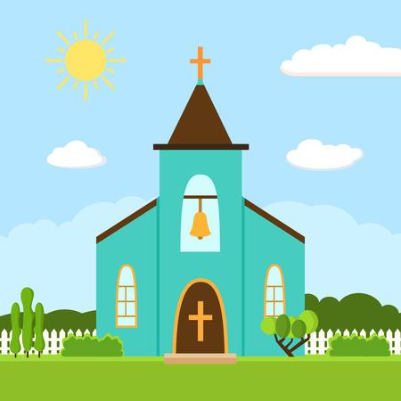 Church icon. Flat summer landscape.