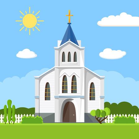 Icono de la iglesia. Paisaje de verano plano. Ilustración de vector