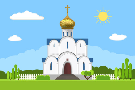in monastery: Russian orthodox church icon isolated on white background
