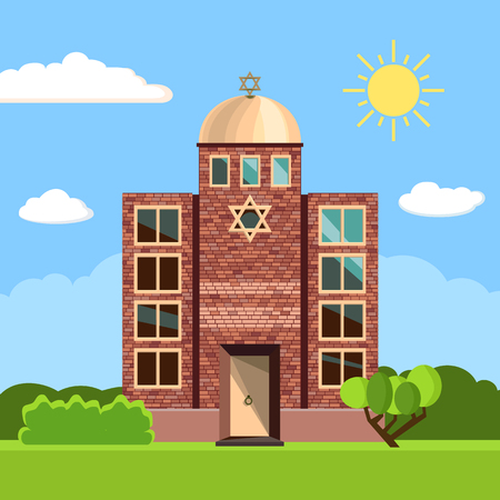Jewish synagogue icon. Vector illustration