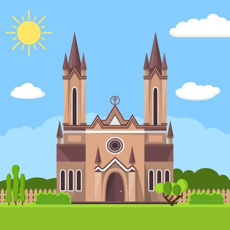 in monastery: Church icon. Flat summer landscape.