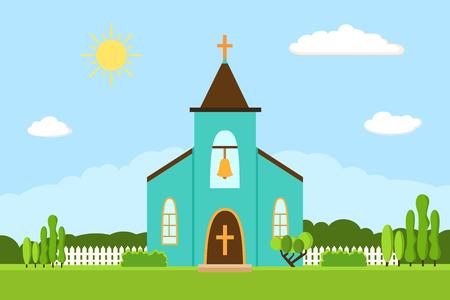 easter cross: Church icon. Flat summer landscape.