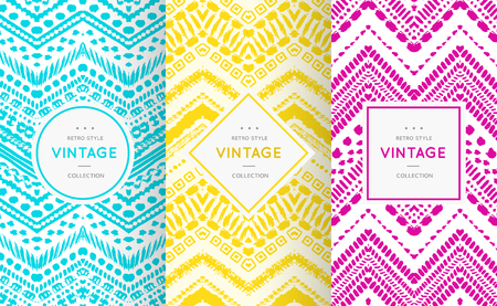 Cute bright seamless pattern background. Vector illustration bright design. Abstract geometric frame. Stylish decorative label set. Pale light color. Colorful geometric ornament. Feminine baby style Ilustracja