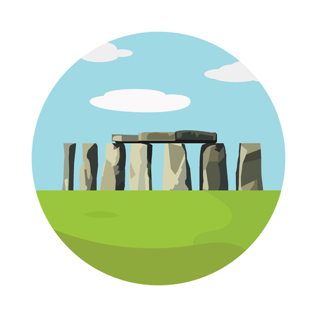 Stonehenge icon isolated on white background. Vector illustration for prehistoric religious landmark architecture. Ancient monument rock. Heritage England UK tourism. Colorful Stonehenge circle logo