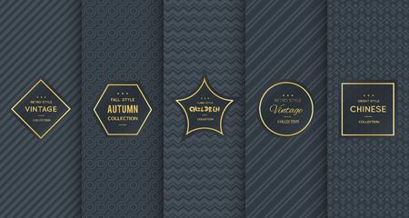 Golden vintage pattern on black background.