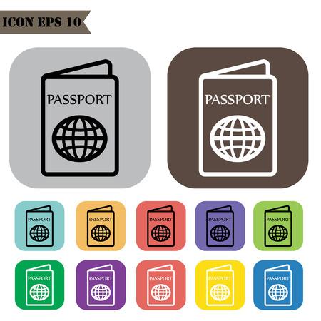 emigration: Passport icons set.Vector illustration
