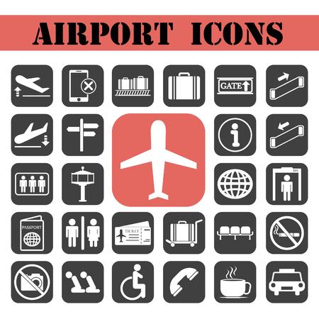 Airport icons set.Vector illustration Vektorové ilustrace