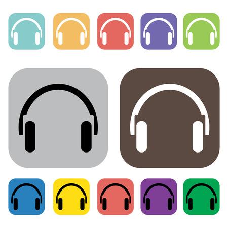 headset: Headset icons set illustration Illustration