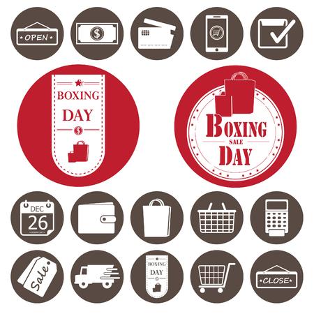 boxing day sale: Shopping icons set.Vector illustration Illustration