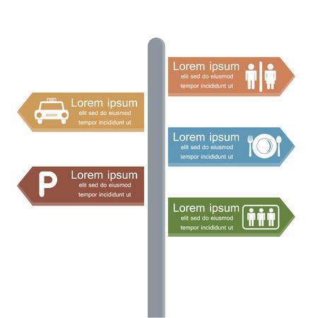 Direction infographic design. Vector illustration