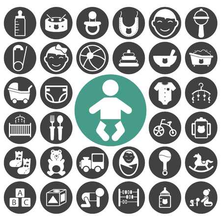 Baby icon set, toys and care. Vector illustration
