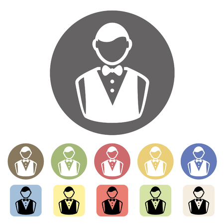 Waiter icon set.Vector illustration