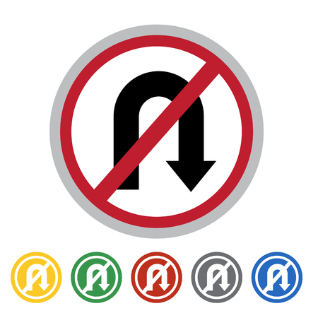 No right U-turn sign icon set.Vector illustration