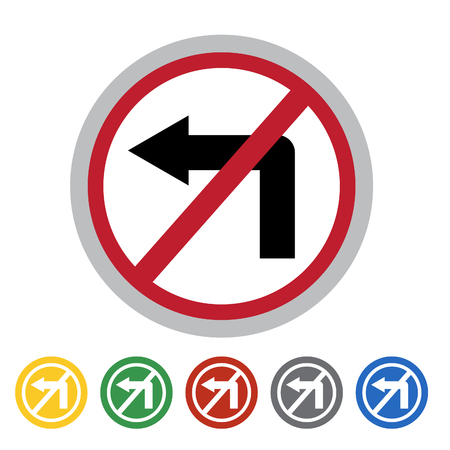 No left turn sign icon set.Vector illustration