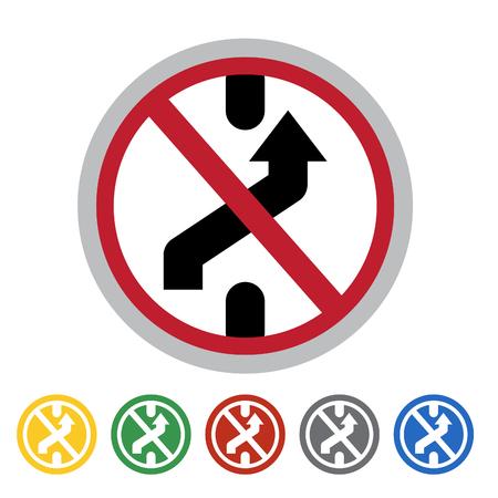 No changing lane icon set.Vector illustration
