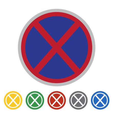 No stopping icon set.Vector illustration Illustration