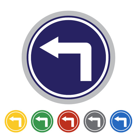 turning point: Turn left ahead icon set.Vector illustration
